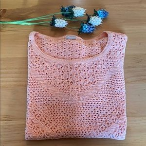 Chico's Apricot Crochet Oversized Sweater